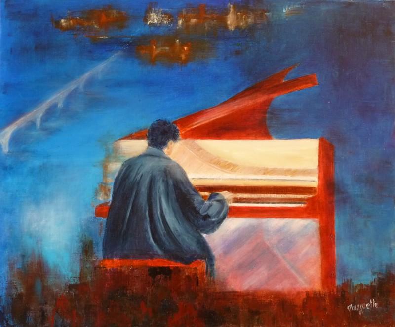 Le Piano Rouge, huile de Muguett