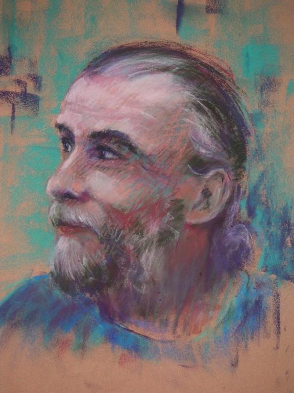 Portrait d'un Inconnu esquisse au pastel sec de Muguett
