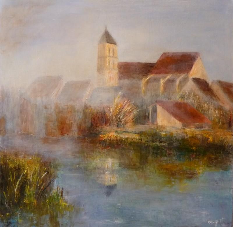 Lever de Brume sur Cerny. Huile  sur toile de Muguett