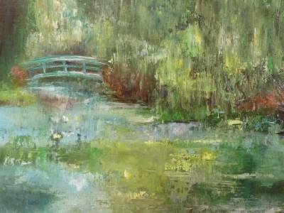 Jardin de Giverny - huile sur toile de Muguett - (50x40)