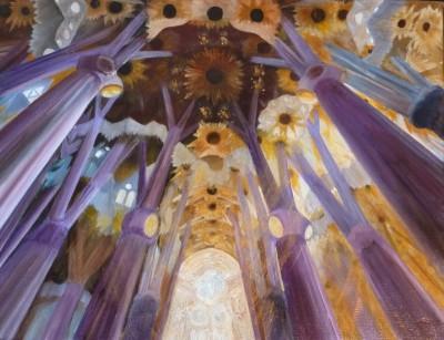 La Sagrada Familia - Huile sur toile de Muguett