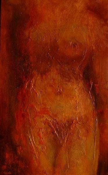 Nu incandesscent - -huile au couteau sur toile de Muguett - (30x50)