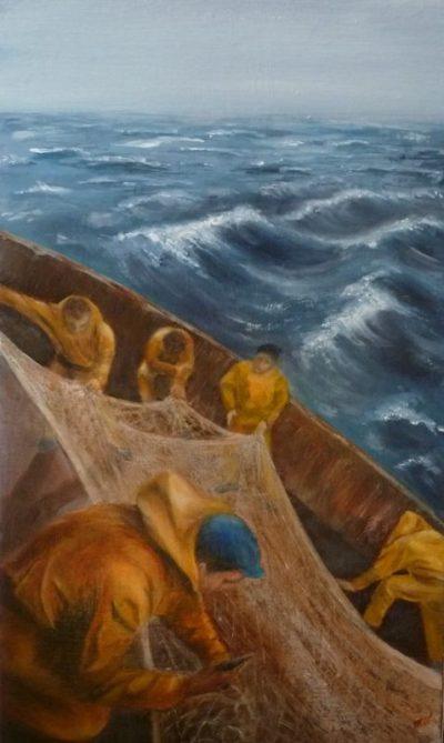 Marins-pêcheurs aux filets en haute mer - huile sur toile de Muguett