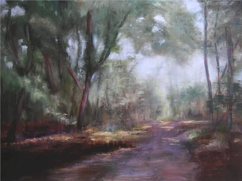 Chemin en Forêt de Fontainebleau, huile au couteau de Muguett
