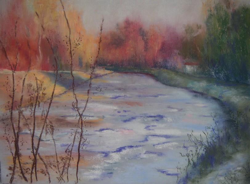 Le Canal du Loing à Episy (77) - pastel sec de Muguett