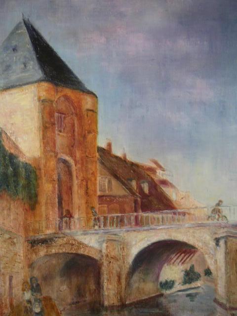 Moret, Porte de Bourgogne, huile au couteau de Muguett