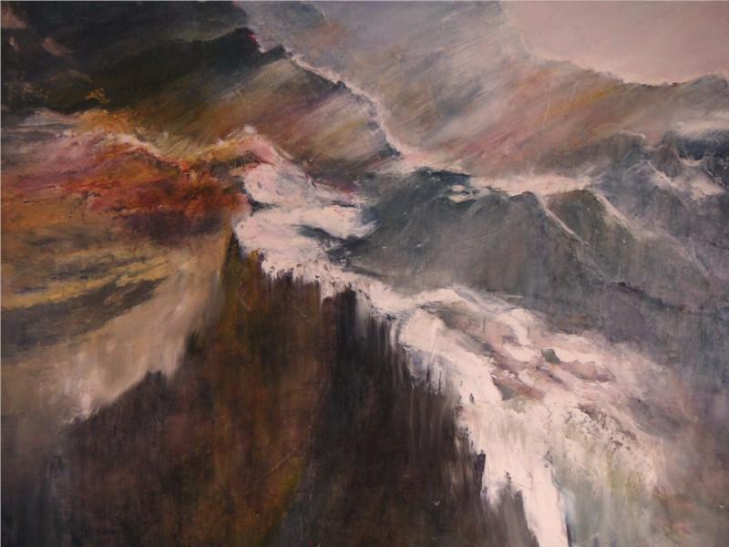 Vol au Dessus des Alpes, huile au couteau sur toile de Muguett