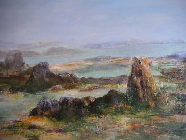 Côte Bretonne à Marée Basse - huile au couteau sur toile de Muguett - (54x31)