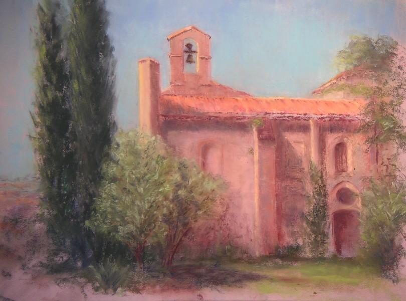 La Chapelle Saint Pierre de l'Abbaye des Canons, pastel sec de Muguett