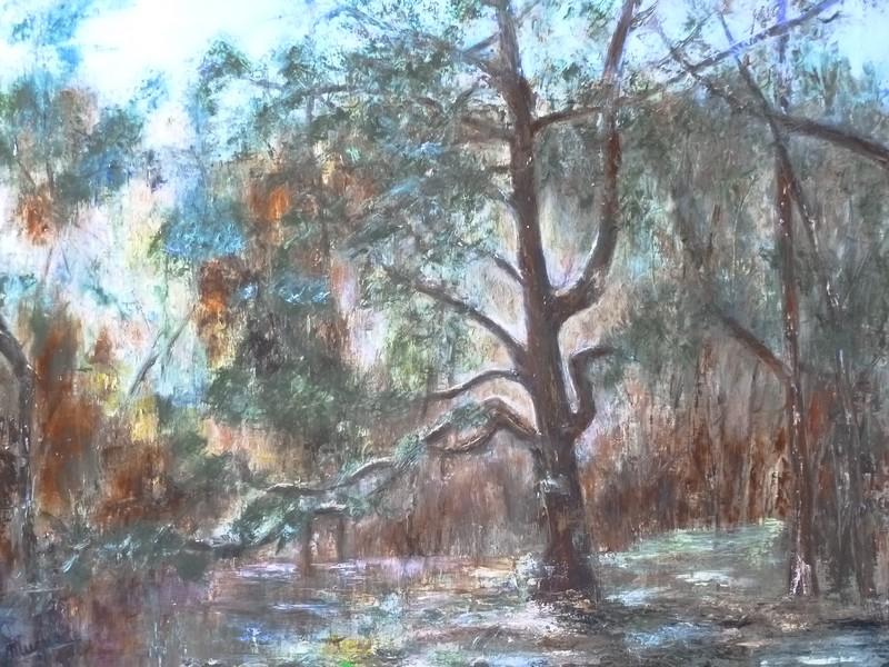 L'Arbre Qui Cache la Forêt, huile au couteau sur toile de Muguett
