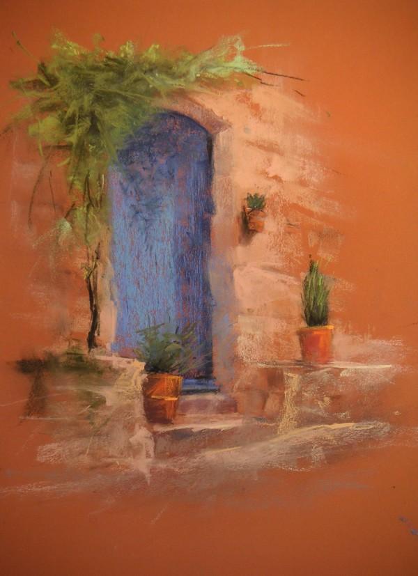 Porte Bleu, pastel sec de Muguett