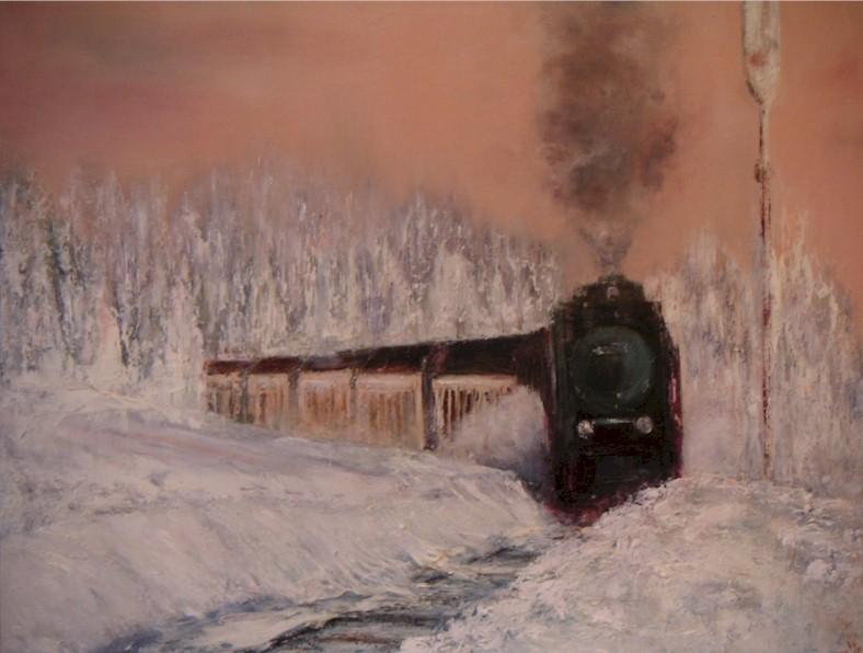Train de Neige - huile au couteau sur toile de Muguett - (73x54)