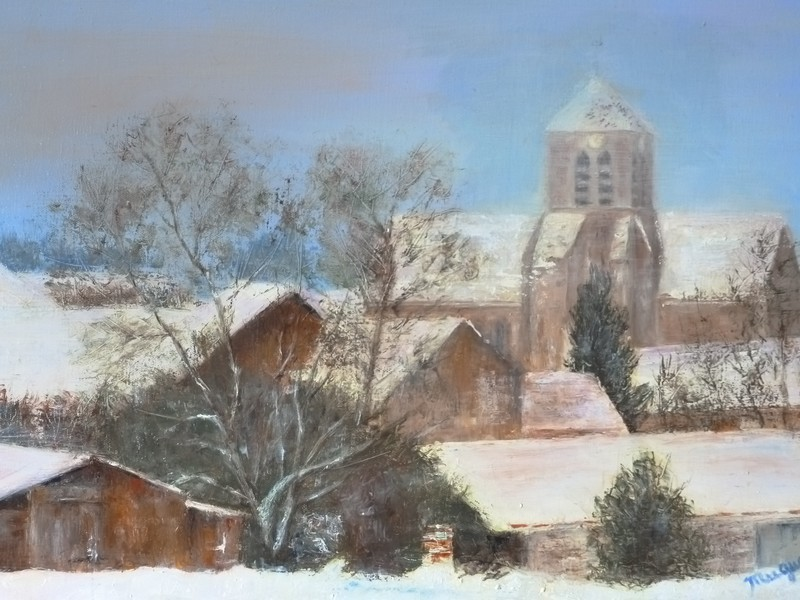 Voile de Neige sur Écuelles, huile sur toile de Muguett